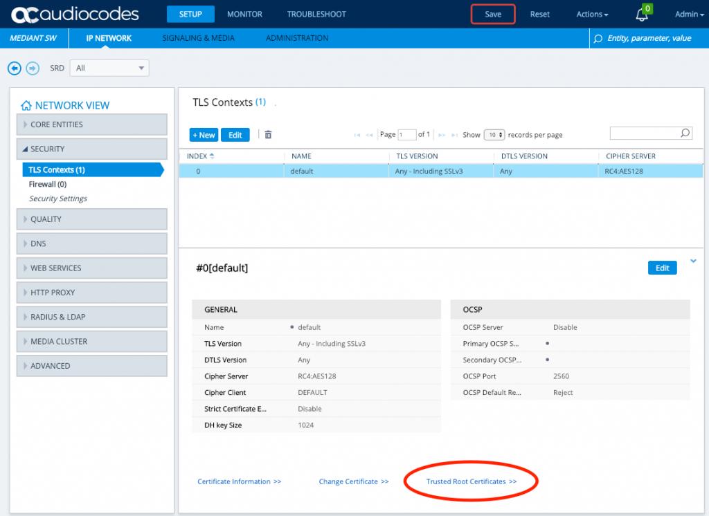 AudioCodes TLS Context